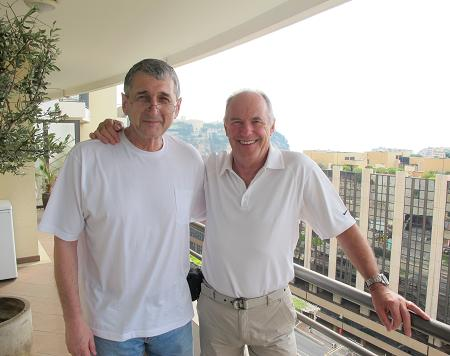 David Levin and Ivan Stern on the balcony at JETCAM headquarters in Monaco