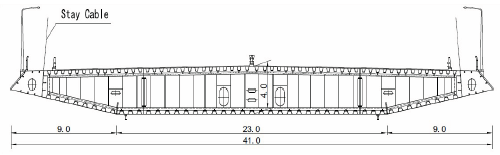 Cross-section of the Sutong Bridge