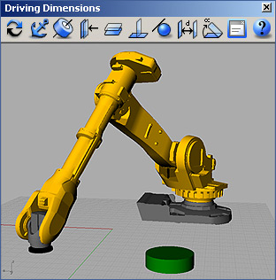 Bottom-up assembly and kinematics simulation of a robotic arm in Rhino with Driving Dimensions plug-in
