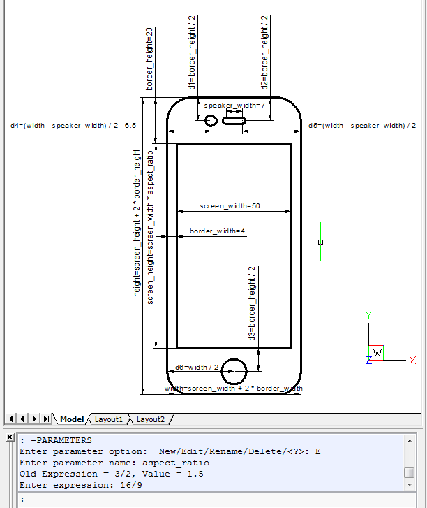 Changing the aspect ratio for a phone drawing in BricsCAD