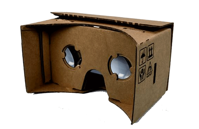 Google Cardboard is a self-build cardboard headset that can mount an Android Phone in front of your eyes for a low cost VR experience
