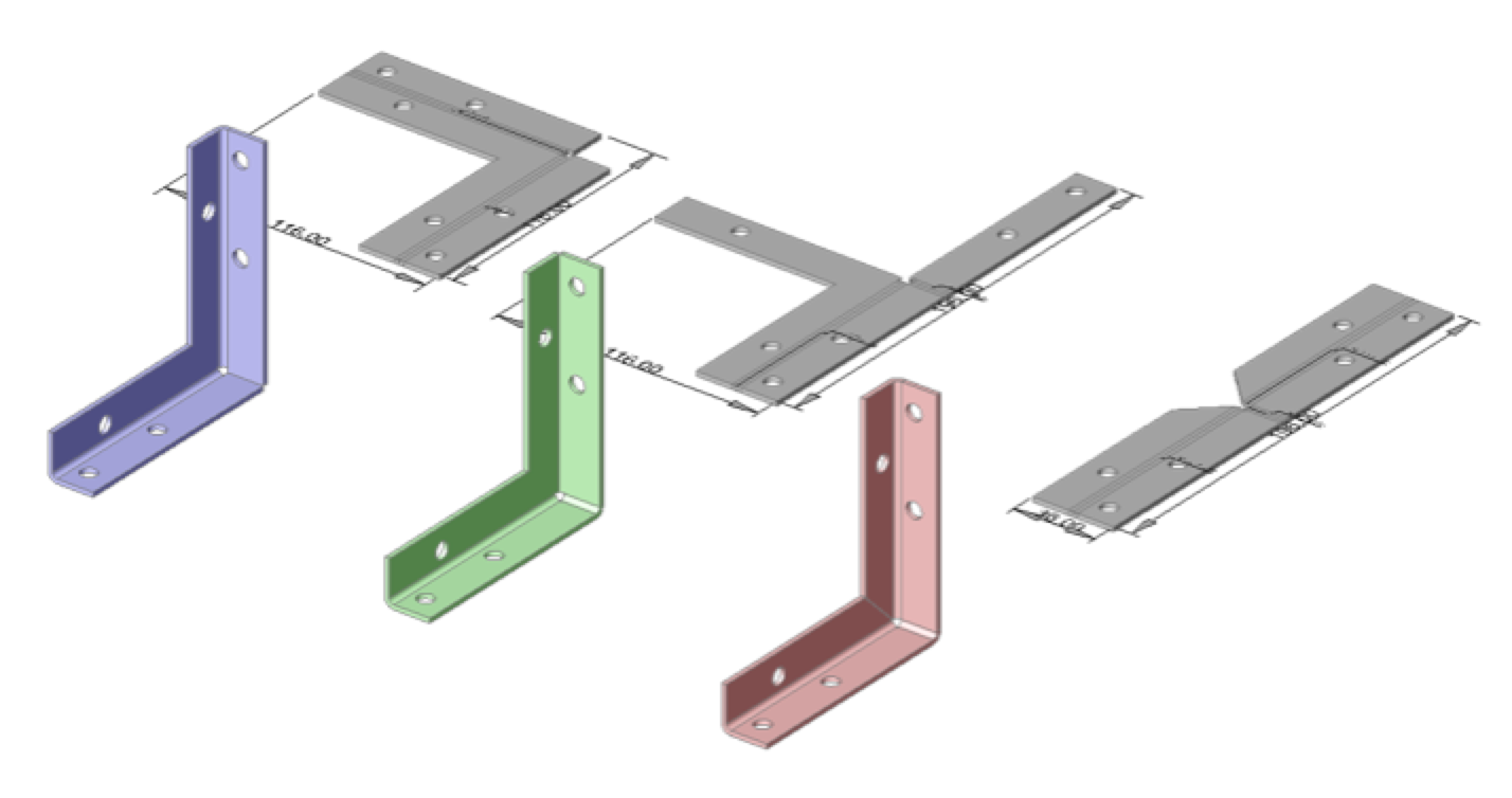 Different variants of the same sheet metal part